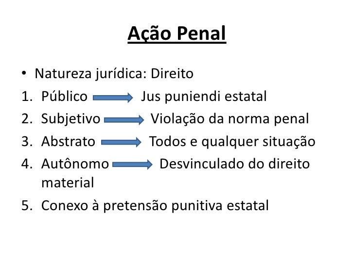 Ação Penal<br />Natureza jurídica: Direito<br />Público               Jus puniendi estatal<br />Subjetivo              Vio...