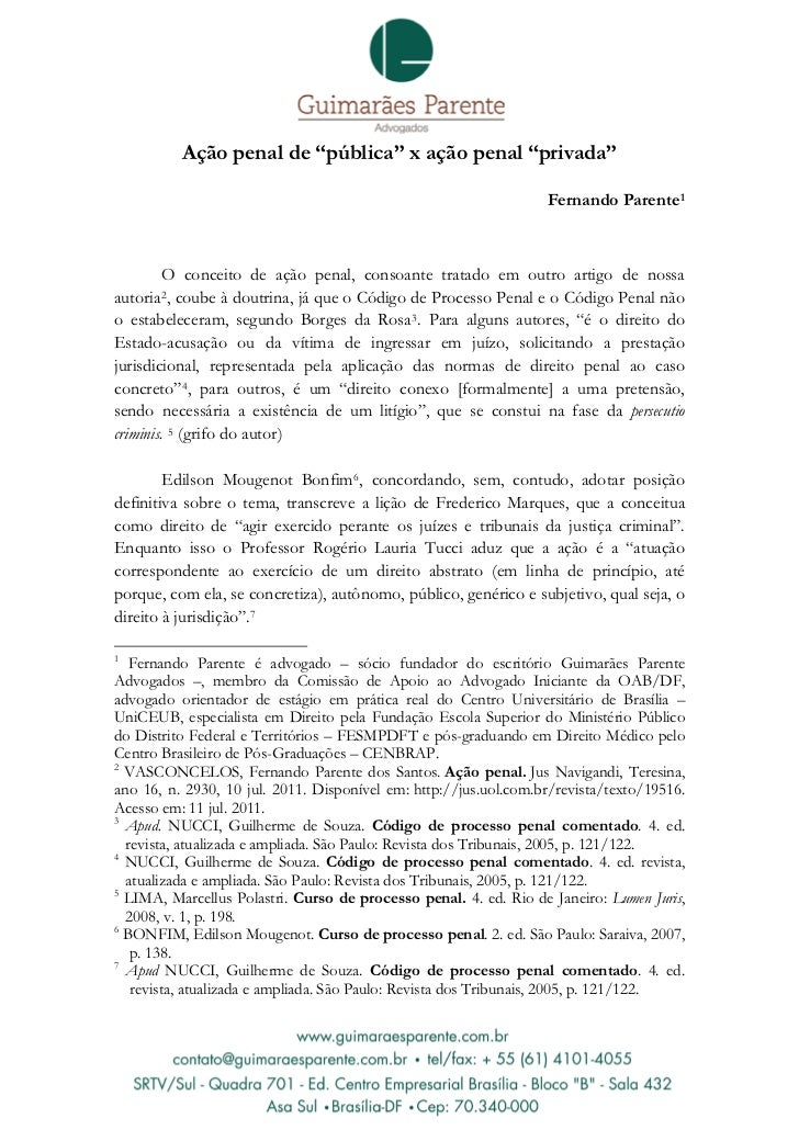 """Ação penal de """"pública"""" x ação penal """"privada""""                                                                  Fernando P..."""
