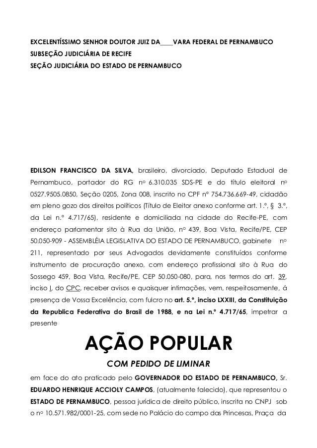 EXCELENTÍSSIMO SENHOR DOUTOR JUIZ DA VARA FEDERAL DE PERNAMBUCO SUBSEÇÃO JUDICIÁRIA DE RECIFE SEÇÃO JUDICIÁRIA DO ESTADO D...