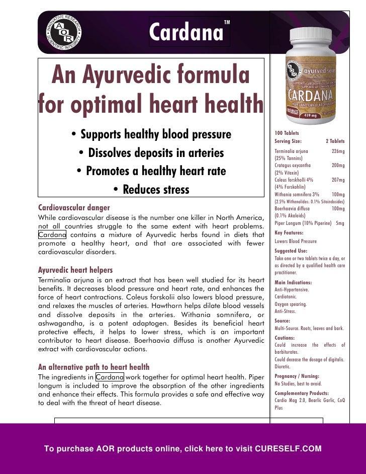 TM                                     Cardana   An Ayurvedic formula for optimal heart health           • Supports health...