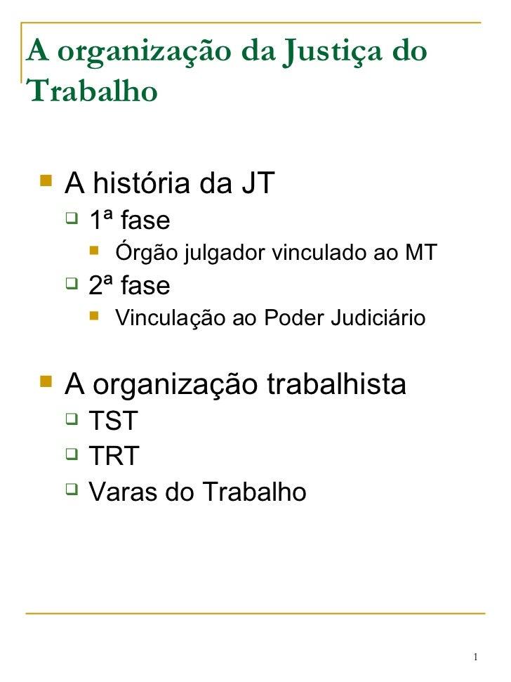 A organização da Justiça do Trabalho <ul><li>A história da JT </li></ul><ul><ul><li>1ª fase </li></ul></ul><ul><ul><ul><li...