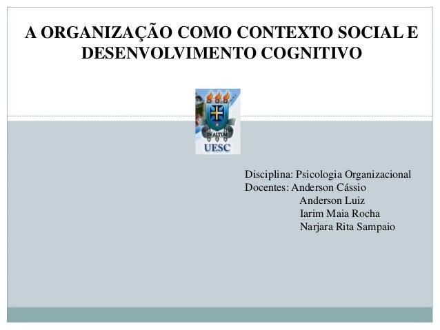 A ORGANIZAÇÃO COMO CONTEXTO SOCIAL E DESENVOLVIMENTO COGNITIVO Disciplina: Psicologia Organizacional Docentes: Anderson Cá...