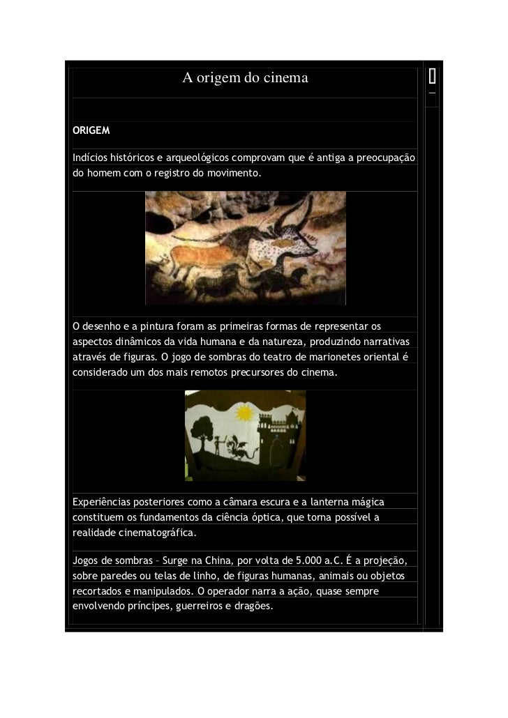 A origem do cinemaORIGEMIndícios históricos e arqueológicos comprovam que é antiga a preocupaçãodo homem com o registro do...