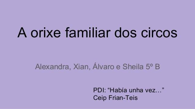 """A orixe familiar dos circos Alexandra, Xian, Álvaro e Sheila 5º B PDI: """"Había unha vez…"""" Ceip Frian-Teis"""