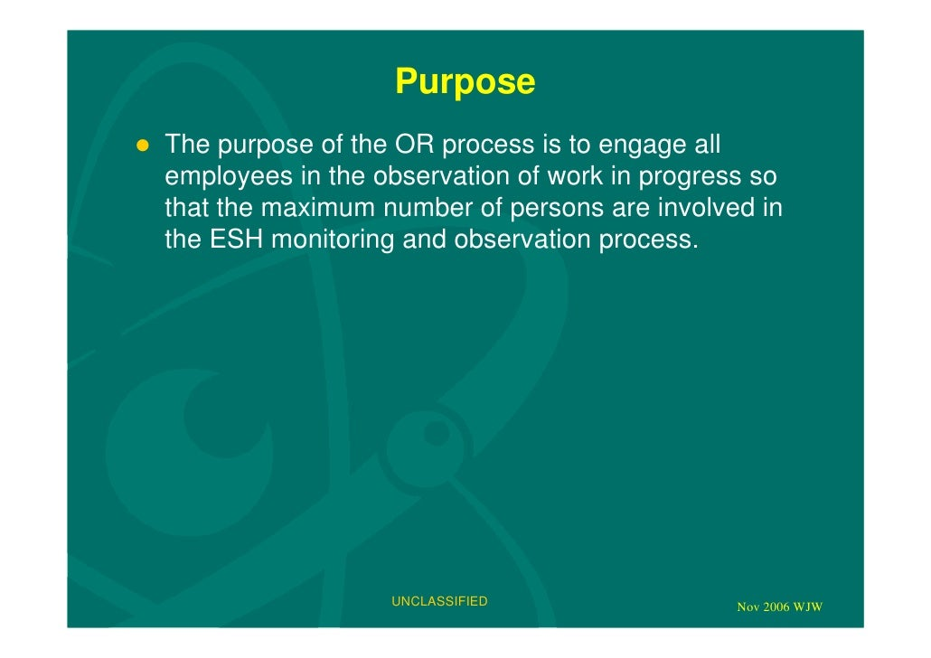 Behaviour Observation Process