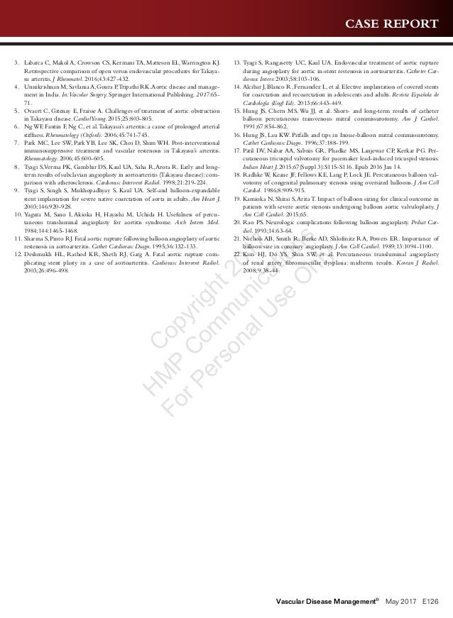 CASE REPORT Vascular Disease Management® May 2017 E126 3. Labarca C, Makol A, Crowson CS, Kermani TA, Matteson EL,Warring...