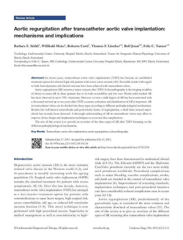 Review ArticleAortic regurgitation after transcatheter aortic valve implantation:mechanisms and implicationsBarbara E. Stä...