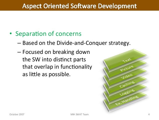 aspect oriented software development Aspect-oriented software development [robert e filman, tzilla elrad, siobhán clarke, mehmet aksit] on amazoncom free shipping on qualifying offers aspect-oriented software development (aosd) is receiving considerableattention in the software engineering and programming language communitiessince 1997.