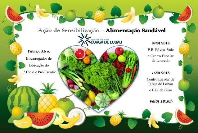 Ação de Sensibilização – Alimentação Saudável 09/01/2018 E.B. Póvoa Vale e Centro Escolar de Louredo 16/01/2018 Centro Esc...