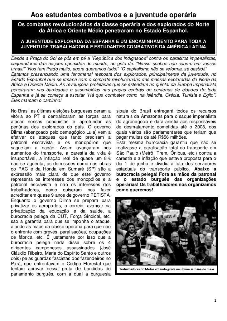 Aos estudantes combativos e a juventude operária   Os combates revolucionários da classe operária e dos explorados do Nort...