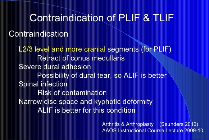Contraindication of PLIF & TLIF Arthritis & Arthroplasty  (Saunders 2010) AAOS Instructional Course Lecture 2009-10 Contra...