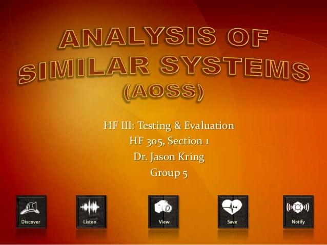 HF III: Testing & Evaluation     HF 305, Section 1       Dr. Jason Kring           Group 5