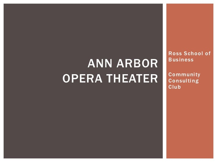 Ross School of   ANN ARBOR    BusinessOPERA THEATER   Community                Consulting                Club