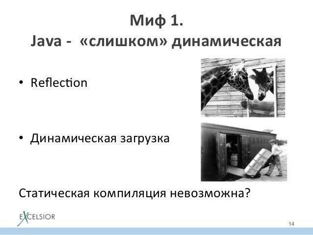 • Reflecron   • Динамическая  загрузка      Статическая  компиляция  невозможна?   Миф  1.     Java ...