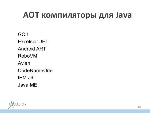 AOT  компиляторы  для  Java   GCJ Excelsior JET Android ART RoboVM Avian CodeNameOne IBM J9 Java ME 83