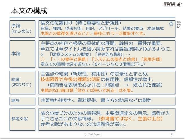 本⽂の構成 © IBM Japan 21 序論 (はじめに) 論⽂の位置付け(特に重要性と新規性) 背景、課題、従来技術、⽬的、アプローチ、結果の要点、本論構成 本論との重複を避けること。最後にもう⼀回推敲すべき。 参考⽂献 論⽂位置づけのため...