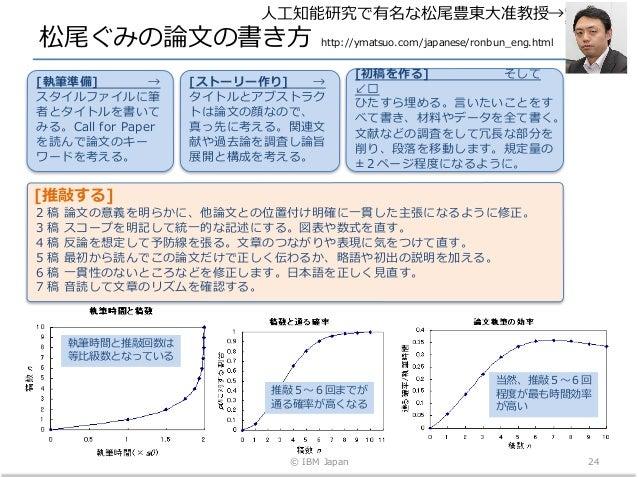 松尾ぐみの論⽂の書き⽅ http://ymatsuo.com/japanese/ronbun_eng.html © IBM Japan 24 推敲5〜6回までが 通る確率が⾼くなる 執筆時間と推敲回数は 等⽐級数となっている 当然、推敲5〜6回...