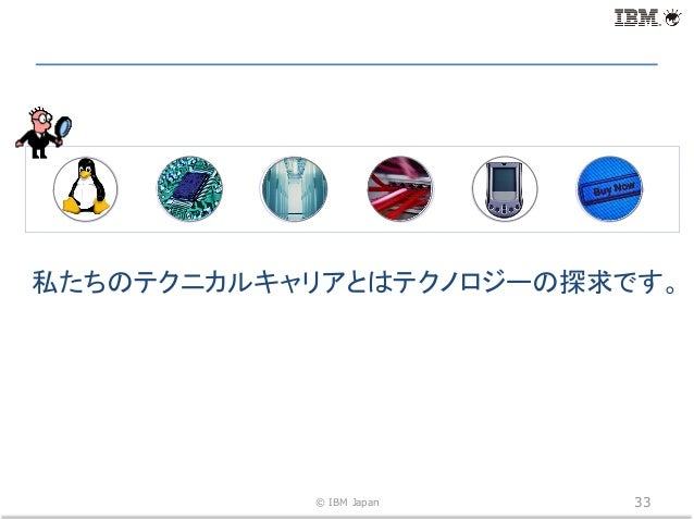 © IBM Japan 33 Open Standard Processor Speed Storage Network Device Application 私たちのテクニカルキャリアとはテクノロジーの探求です。