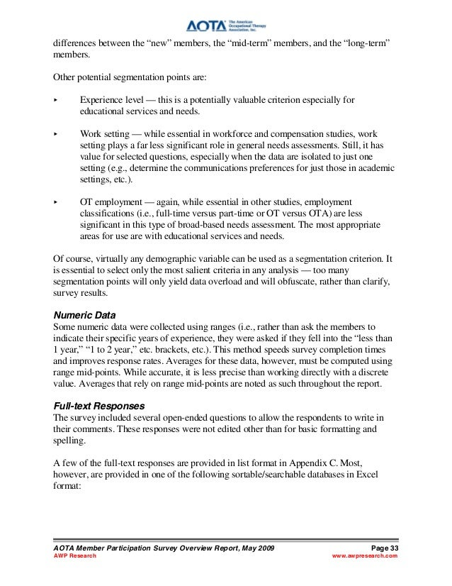 Aota member participation survey may 2009