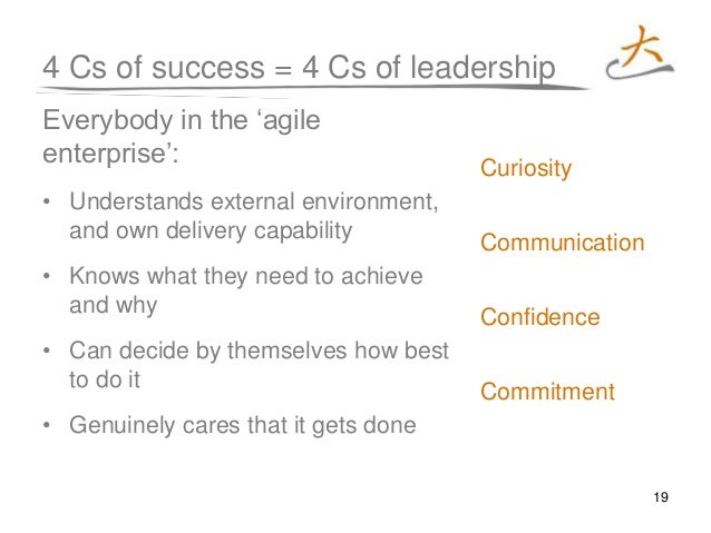 19 4 Cs of success = 4 Cs of leadership Everybody in the 'agile enterprise': • Understands external environment, and own d...