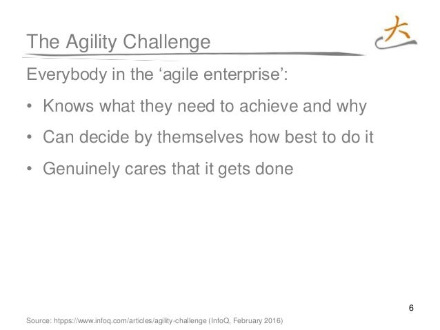 6 The Agility Challenge Everybody in the 'agile enterprise': • Knows what they need to achieve and why • Can decide by the...