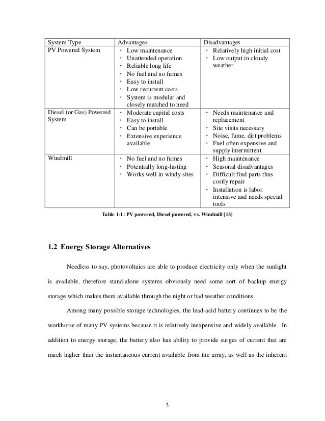 stand alone pv systems essay View full essay similar essays stand alone photovoltaic systems  seven steps of electrical system installation  global solar photovoltaic (pv).