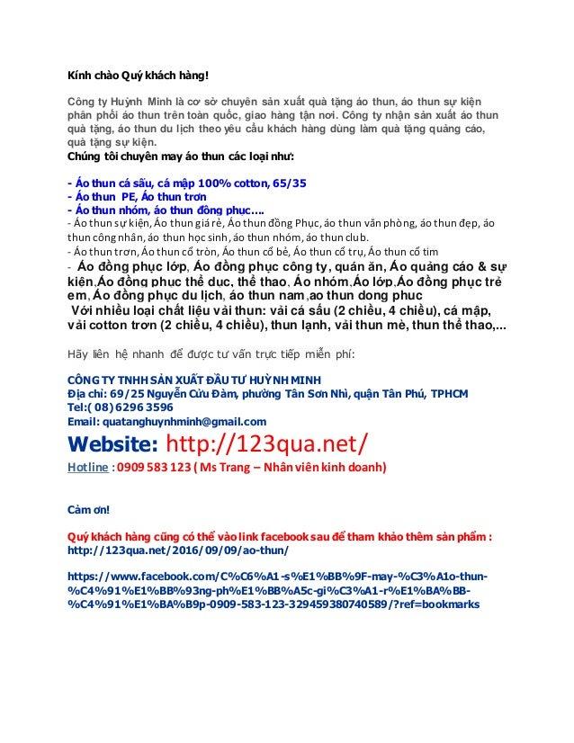 Kính chào Quý khách hàng! Công ty Huỳnh Minh là cơ sở chuyên sản xuất quà tặng áo thun, áo thun sự kiện phân phối áo thun ...