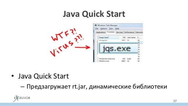 JavaQuickStart  • JavaQuickStart – Предзагружаетrt.jar,динамическиебиблиотеки 37