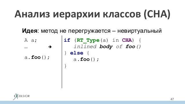 A a; …è  a.foo();  if (RT_Type(a) in CHA) { inlined body of foo() } else { a.foo(); } Идея: ме...
