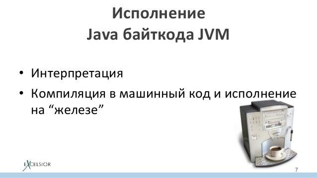 """• Интерпретация • Компиляциявмашинныйкодиисполнение на""""железе"""" Исполнение JavaбайткодаJVM 7"""