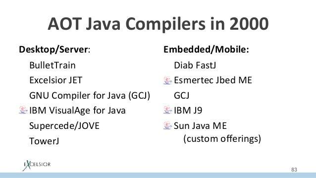 AOTJavaCompilersin2000 Desktop/Server: BulletTrain ExcelsiorJET GNUCompilerforJava(GCJ) IBMVisualAgeforJa...