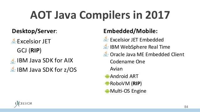 AOTJavaCompilersin2017 Desktop/Server: ExcelsiorJET GCJ(RIP) IBMJavaSDKforAIX IBMJavaSDKforz/OS  Comi...