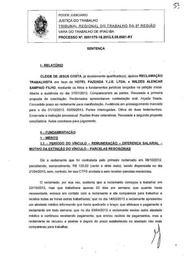 PROCESSO JUDICIAL (Ação trabalhista (sentença)