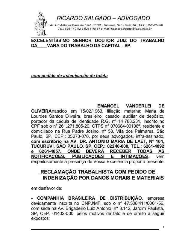 RICARDO SALGADO – ADVOGADO Av. Dr. Antonio Maria de Laet, nº 101, Tucuruvi, São Paulo, SP, CEP.: 02240-000 Tel.: 6261-40-9...