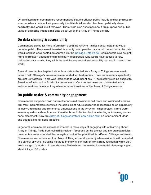 Onarelatednote,commentersrecommendedthattheprivacypolicyincludeaclearprocessfor whenresidentsbeliev...