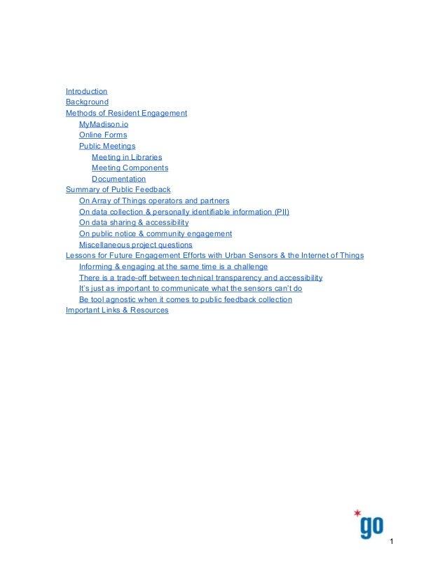 Introduction Background MethodsofResidentEngagement MyMadison.io OnlineForms PublicMeetings Meeting...