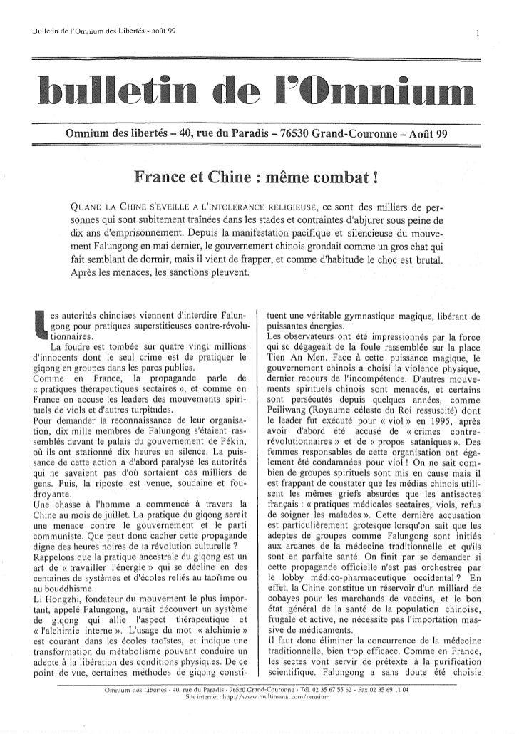 Bulletin de jOmnium des Libertés - août 99         Omnium des libertés - 40, rue du Paradis - 76530 Grand-Couronne - Août ...