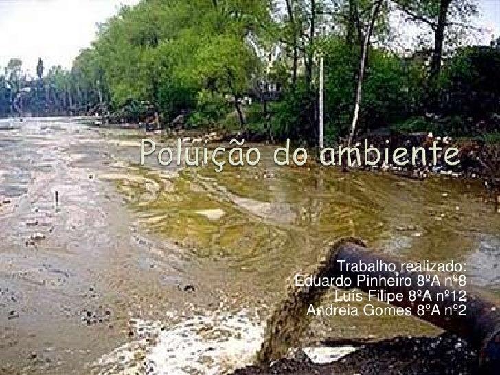 Poluição do ambiente<br />Trabalho realizado:<br />Eduardo Pinheiro 8ºA nº8<br />Luís Filipe 8ºA nº12<br />Andreia Gomes 8...