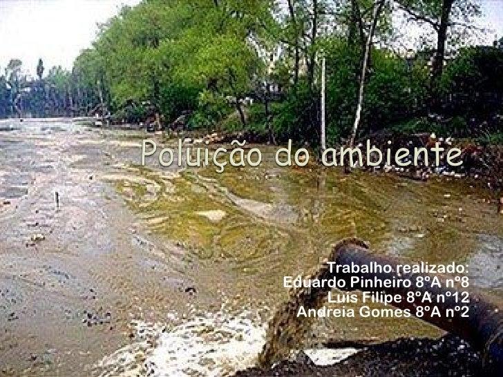 Trabalho realizado: Eduardo Pinheiro 8ºA nº8      Luís Filipe 8ºA nº12  Andreia Gomes 8ºA nº2
