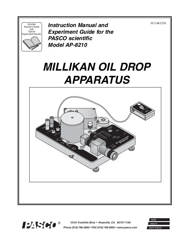 (Ap 8210) millikans oil drop manual