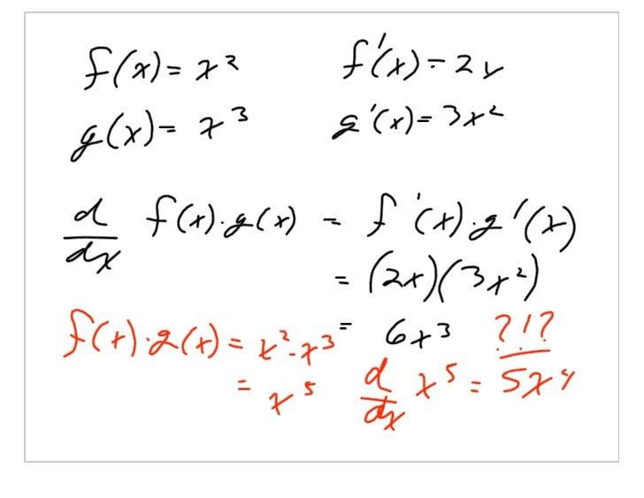 The Derivative of a Product of Functions: The Product Rule              The classic proof: Proof:          Adding and subt...