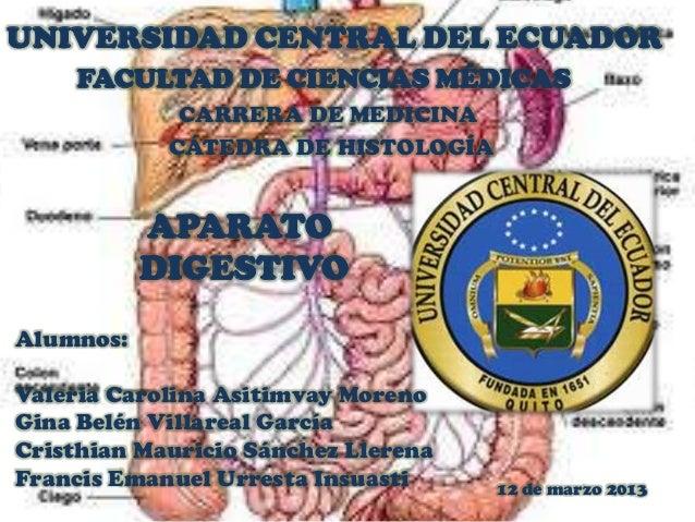 UNIVERSIDAD CENTRAL DEL ECUADOR     FACULTAD DE CIENCIAS MÉDICAS             CARRERA DE MEDICINA            CÁTEDRA DE HIS...