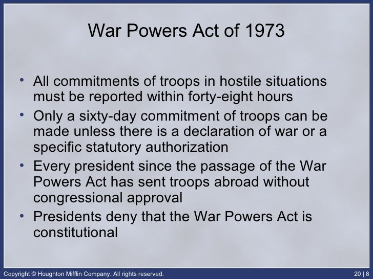 an analysis of the war powers act of 1973 Bibliography from the law library of congress on war powers.