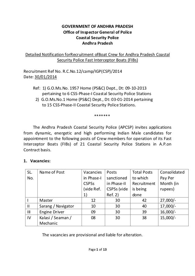 GOVERNMENT OF ANDHRA PRADESH Office of Inspector General of Police Coastal Security Police Andhra Pradesh Detailed Notific...