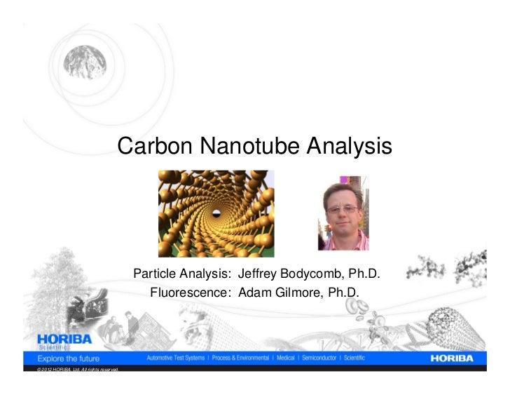 Carbon Nanotube Analysis                                           Particle Analysis: Jeffrey Bodycomb, Ph.D.             ...