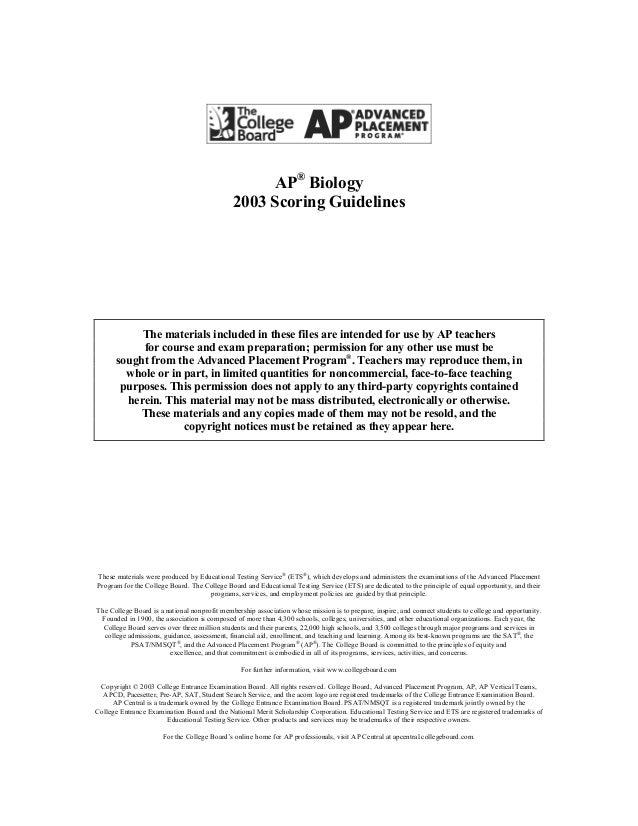 1999 ap biology essay standards
