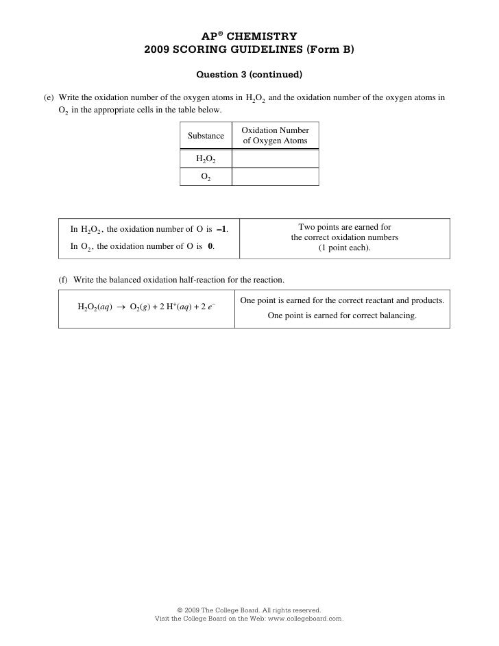 Chemistry AP Scoring Guidelines from B 2009