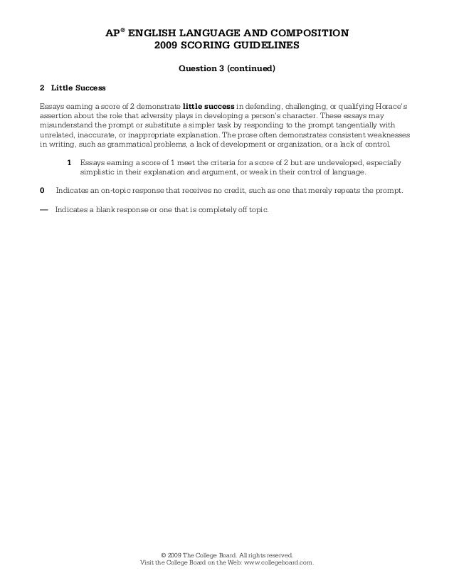 2009 ap language and composition synthesis essay thesis