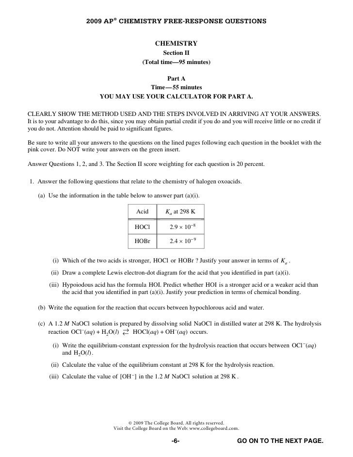 Chemistry Ap Free Response Questions 2009