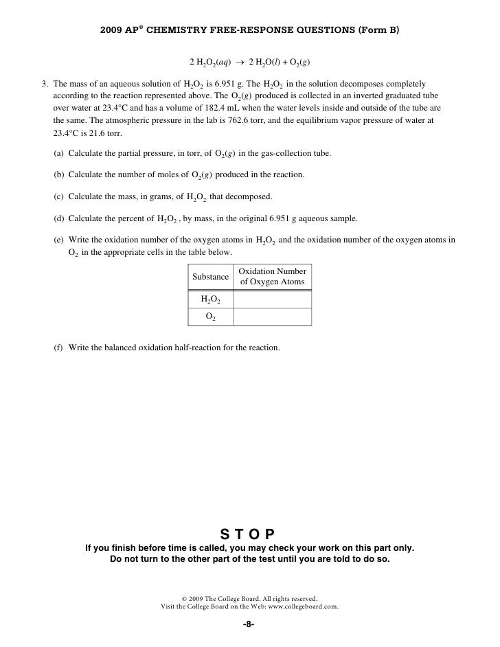Chemistry AP Free-Response Questions Form B 2009